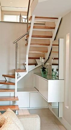 Wow check out this exciting staircase storage - what a creative design and development Staircase Storage, Interior Staircase, Home Stairs Design, Loft Stairs, House Stairs, Basement Stairs, Tiny House Storage, Attic Renovation, Tiny House Design