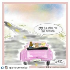 """FASHCOM on Instagram: """"New comic for @glamourmex   • Every day can be an adventure • Aún en lunes, todo puede suceder...   Cómic by @fashcomofficial #PinkQuote #instaquote #comic #illustration #cool"""""""