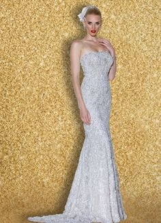 """Ishtar"" This stunning fit and flare, French Chantilly Lace gown lined in the most luxurious Silk Charmuese features a square neckline and back and is encrusted with fine beadwork!"