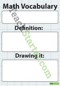 Maths Word of the Week Poster B&W Teaching Resource