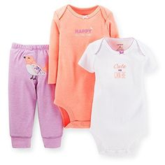 Carters Baby Girls 3piece Bodysuit  Pant Set 3 Months Peach >>> For more information, visit image link.
