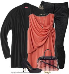 Women's Plus-Size Outfit: Black & Coral featuring jewelry from Piperlime, and clothes from Target, and Old Navy.