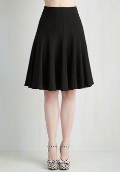 Tour de Forks Skirt. You exude casual elegance at the progressive dinner in this black paneled skirt! #black #modcloth