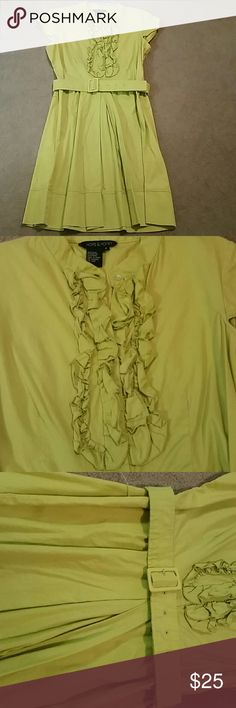 Greenish-yellowish dress with belt Cute and great for the office! Has one place on the belt that has a spot, but can't see it, and one of the belt strings on the side is broken (see pics). Hope & Honey Dresses Midi