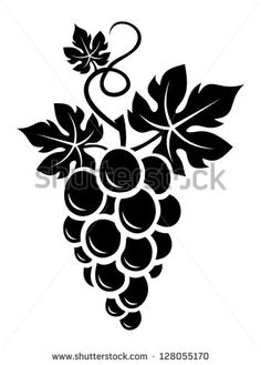 Black silhouette of grapes. Vector illustration.