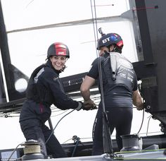 The Duchess of Cambridge helming a catamaran with Sir Ben Ainslie on a visit to Portsmouth...