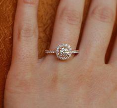 Engagement ring diamond ring 0.7ct VS1 Champagne diamond ring 14k rose gold. $3,000.00, via Etsy.