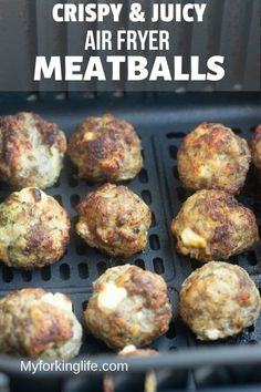 Quick and Easy Air Fryer Meatballs Recipe - My Forking Life - - Quick and Easy Air Fried meatballs that are crispy on the outside and juicy on the inside. They're full of amazing flavor and can be made in the Air Fryer in less than 15 minutes. Air Fryer Oven Recipes, Air Frier Recipes, Air Fryer Dinner Recipes, Air Fryer Recipes Meatballs, Easy Meat Recipes, Meatball Recipes, Easy Meals, Cooking Recipes, Meatloaf Recipes