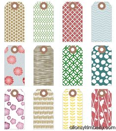 Free printable gift tags - many different styles.