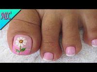 Decoración de uñas Flor muy fácil de realizar - Flowers Nail Art - NLC - YouTube French Pedicure, Pedicure Nail Art, Toe Nail Art, Mani Pedi, Pedicure Designs, Toe Nail Designs, Summer Toe Designs, Cute Pedicures, Pretty Toe Nails
