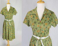 Vintage 1950s Atomic Print Shirtwaist Dress Great by madvintage