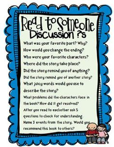 Daily 5 read to someone discussion ?'s