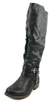 XOXO Martin Wide Calf Women Round Toe Synthetic Black Knee High Boot.