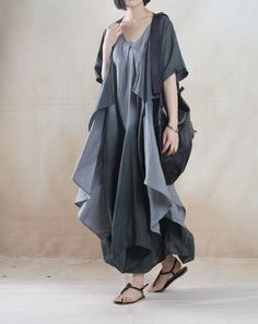 Gray Asymmetric summer linen dress maxis long linen sundress Two pieces $128 at omychic.com