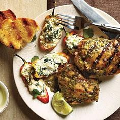Jerk Chicken and Stuffed Mini Bell Peppers | MyRecipes.com