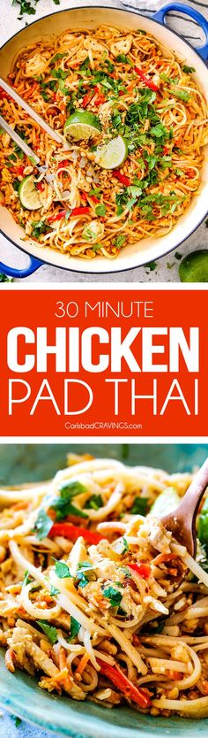Chicken Pad Thai Recipe is unbelievable with the most incredible pantry friendly Pad Thai Sauce! It tastes even better than takeout and only 30 minutes to make! You can use chicken or make it vegetarian Pad Thai or Shrimp Pad Thai! Thai Recipes, Asian Recipes, Chicken Recipes, Dinner Recipes, Cod Recipes, Ramen Recipes, Carrot Recipes, Noodle Recipes, Sausage Recipes