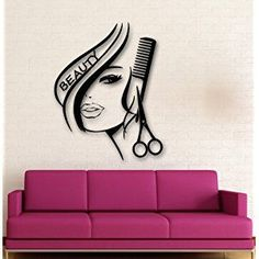 Newly Arrived Removbale Wall Stickers Vinyl Decor Hair Beauty Salon Barbershop Sexy Girl Wall Stickers Home Decoration
