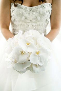 Bouquet Invernale, tutta la magica atmosfera di questa stagione White Orchid Bouquet, White Wedding Bouquets, Bride Bouquets, White Orchids, Bouquet Wedding, White Roses, Gardenia Bouquet, Wedding Dresses, White Flowers