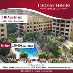Spacious 3 Bedroom apartment plus Study  Thomas Homes Real Estate welcomes you to view this vacant 3 bedroom apartment located in Al Jaz, The Greens. This delightful corner apartment is spacious covering 1812.97 sqft. #Thomashomes #RealEstateDubai #Dubai #UAE #PropertyRentals #Dubairealestate #Pinterest #Apartments #Villas #Properties #photography #ArabianEscapes #business #realestate #propertyforrent #propertyforsale #dubaiproperties #luxury #house #interiordesign  #offices #forrent…