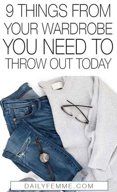 9 Things From Your Wardrobe You Need To Throw Out Today - Decluttering your wardrobe doesn't have to be scary! Start off by tackling these 9 things from you - Minimalist Lifestyle, Minimalist Fashion, Minimalist Closet, Minimalist Style, Minimalist Wardrobe Essentials, Fall Wardrobe Essentials, Minimal Wardrobe, Simple Wardrobe, Wardrobe Sets