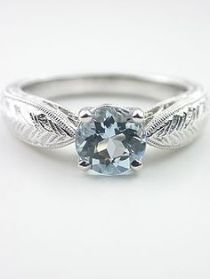 Awesome Aquamarine Engagement Ring with Wheat Motif