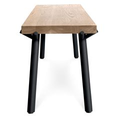 Blu Dot's Branch Collection is a modern wood bench with a solid wood seat hoisted by powder coated steel legs. Fit for dining rooms and entryways. Modern Ottoman, Modern Bench, Modern Table, Contemporary Benches, Wood Dining Bench, Ottoman Stool, Luxury Dining Room, Bench Furniture, Weathered Oak