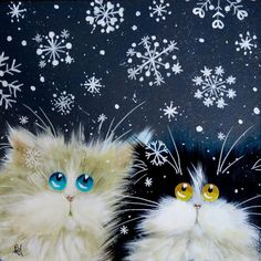 just love these little kitties Kim Haskins Online Shop. I Love Cats, Crazy Cats, Cool Cats, Silly Cats, Christmas Animals, Christmas Cats, Art And Illustration, Cat Illustrations, Image Chat
