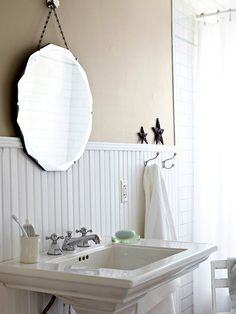 Install Beaded Board; Add dimension and charm to bathroom walls with beaded board. Save money by tackling the project yourself in a weekend and using panels. Panels are virtually identical to authentic beaded board, and they are sold in lightweight 4x8-foot sheets for about $20 each.