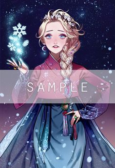 "Disney and Dreamworks Characters in Korean Hanbok - Elsa from ""Frozen"" - Art by Byajae"