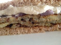 Roasted Eggplant Sandwich with Roasted Garlic White Bean Spread