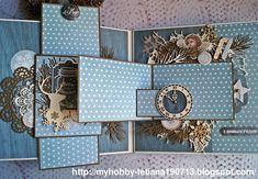 "Creative Workshop Tetiana Tarasiuk: Пятый разворот альбома для СП ""Winter Magic Stories"". 5 Этап. Mini Photo Albums, Mini Albums Scrap, Mini Scrapbook Albums, Baby Scrapbook, Scrapbook Pages, Pop Up, Handmade Journals, Handmade Books, Fancy Fold Cards"