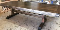 8 foot Triple Layered Top Wood Dining with Trestle style base stained in Dark Walnut