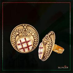 You don't need an occasion to #gift this exquisite and graceful #GoldRing studded with Diamonds and hand-picked #Ruby. A design that makes one feel #grand and #classy. #SunarJewels #SunarJewelsIndia #Sunar