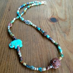Indian Mirror Bead Elephant Yoga Necklace with by MessyJewelry