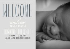 Modern, thin fonts alongside a photo of your sweet smelling, new baby boy or girl. This digital file comes to you as finished product including your birth details, included photo, & choice of color options (attached).     Send us up to 3 high resolution photos to use for the photo on the announcement and we will send you the proofs before sending the final file. You choose which style you prefer-dark with light font, or light with darker font.    Photo example c/o Anne Grace Photography.