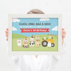 Farm animal welcome sign for kids birthday party // barnyard bash 1st birthday party kids party pig, sheep, horse, cow and chickens party