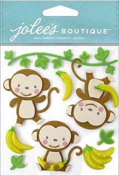 EK+Success+-+Jolee's+Boutique+-+3+Dimensional+Stickers+-+Cutesy+Monkeys+at+Scrapbook.com