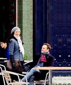 Johnny Lee Miller and Lucy Liu filming 'Elementary' in Brooklyn in NYC. (January 21, 2013)