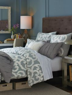 West Elm bedroom with a gender neutral palate so both spouses are happy