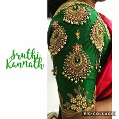 All time favourite :) Stunning bottle green color bridal designer blouse with chaandbali design hand embroidery gold thread and bead work. Wedding Saree Blouse Designs, Pattu Saree Blouse Designs, Blouse Designs Silk, Designer Blouse Patterns, Saree Wedding, Bridal Sarees, Dress Designs, La Bayadere, Sleeve Designs