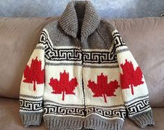 """""""Cowichan Sweater in Oh Canada Pattern""""; handmade to order in B. Knitting For Kids, Free Knitting, Knitting Projects, Baby Knitting, Cool Sweaters, Baby Sweaters, Knit Or Crochet, Crochet For Kids, Cowichan Sweater"""