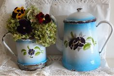 Antique Vintage Large French Enamel Coffee Pot ~ White and Blue with Pansies