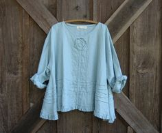 linen top flare with ruffle, tucking and a rose in lt. dusty blue ready to ship