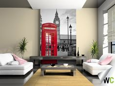 A colour splash mural of the iconic red telephone box against a London background - breathtaking!