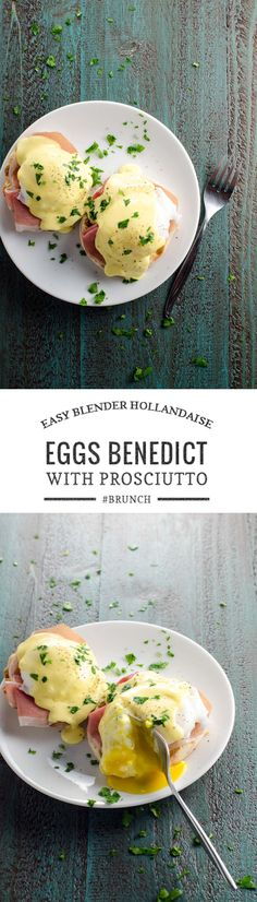 Prosciutto eggs Benedict is an easy and classy twist on the traditional recipe. 5-minute, 5-ingredient blender Hollandaise brings it together in a flash. via @umamigirl