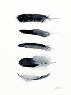 Zwart-wit Feather kunst werk 5 veren art print door TheClayPlay