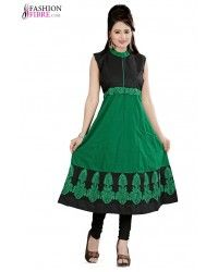 Engrossing Green & Black Color Cotton Kurtis With Embroidered Work