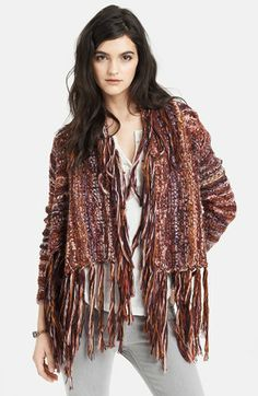 Free People Chunky Knit Fringed Cardigan (Save Now through 12/9) available at #Nordstrom... (red/multi combo... small)