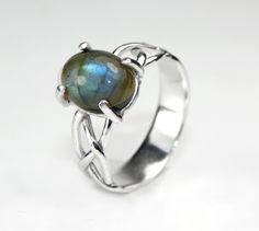 Handmade Sterling Silver Half Woven Half Solid Band Ring with Claw Set Oval Labradorite Cabochon Gemstone by WovenArtJewellery on Etsy
