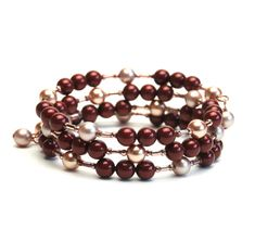 Burgundy Memory Wire Bracelet with Swarovski Crystal by lilicharms, $22.00